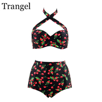 Trangel Swimsuit Women Plus Size Bikini 2017 High Waist Sexy Swimsuit Cherry Swimwear Large Size 3xl