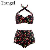 Trangel Swimsuit Women Plus Size Bikini 2017 High Waist Sexy Swimsuit Cherry Swimwear Large Size 3xl