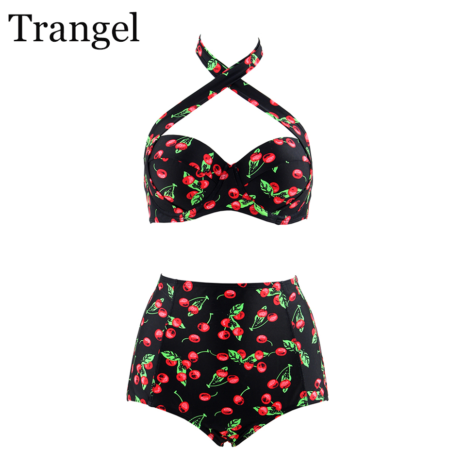 Trangel Swimsuit Women Plus Size Bikini 2017 High Waist Sexy Swimsuit Cherry Swimwear Bathing Suit Push Up Bikini Set 3xl 4xl hot sale women ladies sexy retro padded push up tassel high waist plus size bikini swimwear swimsuit bathing