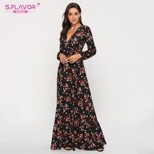 S.FLAVOR kwiatowy nadruk głęboki dekolt w serek seksowny Vestidos De Woman Casual długi rękaw 2020 letnie długie sukienki czeska sukienka Maxi
