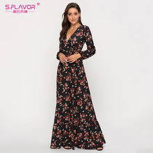 S. טעם פרח הדפסת עמוק V צוואר סקסי Vestidos דה אישה מזדמן ארוך שרוול 2020 קיץ ארוך שמלות בוהמי מקסי שמלה