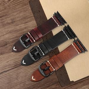 Image 3 - Сменный Браслет MAIKES для Apple Watch Band 44 мм 40 мм 42 мм 38 мм Series 4/3/2/1 iWatch, Красный винтажный браслет из вощеной кожи для часов