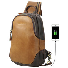 Genuine Leather Crossbody Bag Men USB Charging Chest Mens Messenger Shoulder Pack Male Mini Back pack Travel Casual Tote