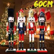 Adornos de Navidad decoración del hogar Cascanueces Vintage mesa de madera nogal juguete artesanía marioneta 60cm 4 diseños