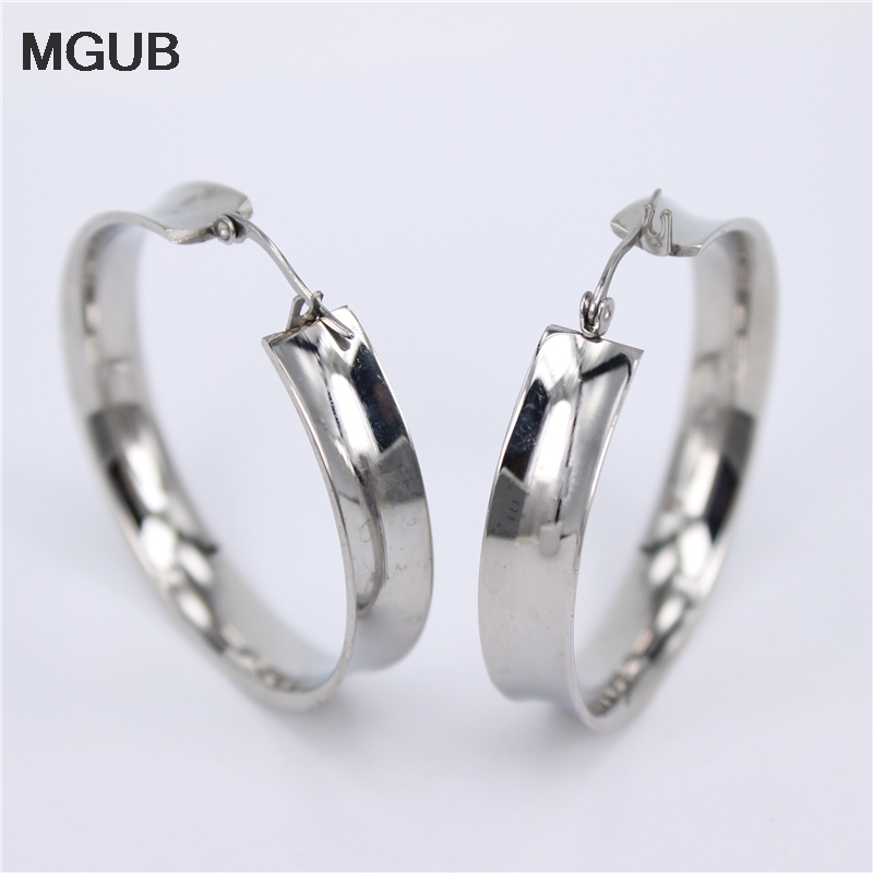 MGUB 40mm 45mm Outer diameter earrings Concave spherical style silver color 316L stainless steel Exquisite polishing smooth JX56