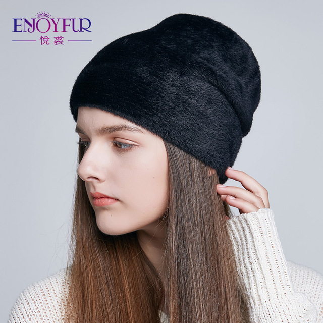 ENJOYFUR Women's Hats For Winter Imitate Wool Soft Thick Caps New Style Casual Hats Female For Women