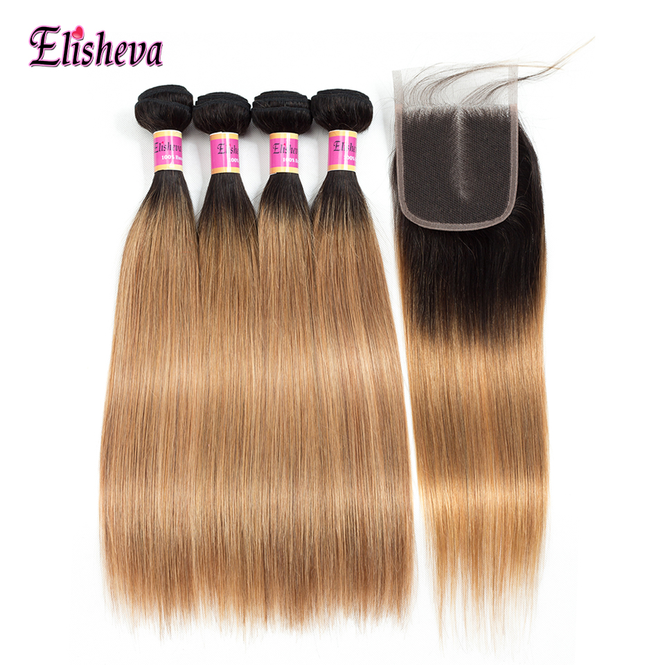 Ombre Bundles With Closure 1B 27 Blonde Two Tone Ombre Human Hair Weave Indian Straight Hair