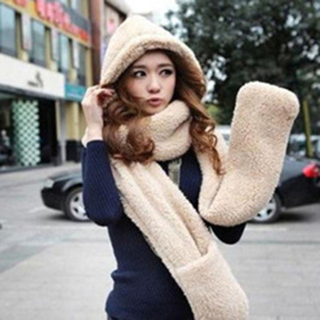 Warm Winter Hat Female Scarf Comfortable Soft Faux Fur Hooded Scarves Hats Gloves Three In One Shu Velveteen Cap Pure color