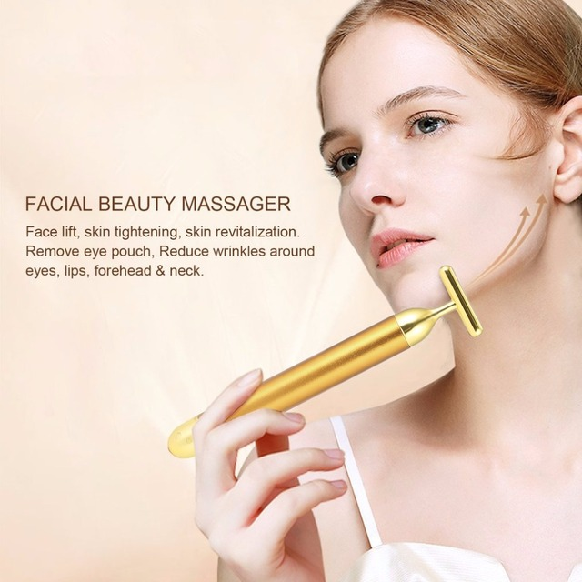 Small Size Beauty Face Lift Tool T Shape Facial Beauty Vibration Massager Energy Vibrating Bar Firming Tighten Skin Care Tool