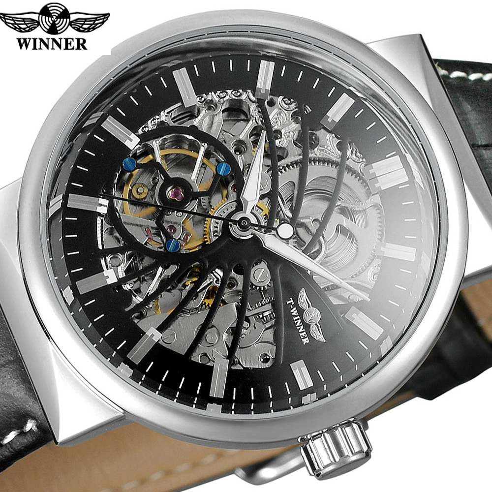 Winner Vintage Luxury Black Silver Design Waterproof Mens Automatic Watches Top Brand Luxury Skeleton Mechanical Watches акриловые обои hits wallcoverings vintage luxury sz001534