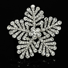 цены Fashion 1PC Women Large Crystal Snowflake Brooches Imitation Pearls Rhinestones Wedding Brooch Pin Jewelry Accessorises