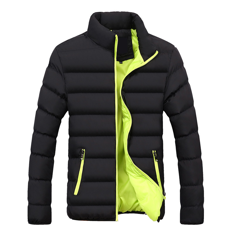 Brand Clothing Hot Mens Casual Coat Male Stand Collar Cotton Coat Men Solid Color Warm Jacket Outwear   Parkas   Slim Youth Jacket
