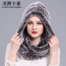 2017 winter Knitting hat with scarf wool beanies warm real rabbit fur and Women a hood Rex
