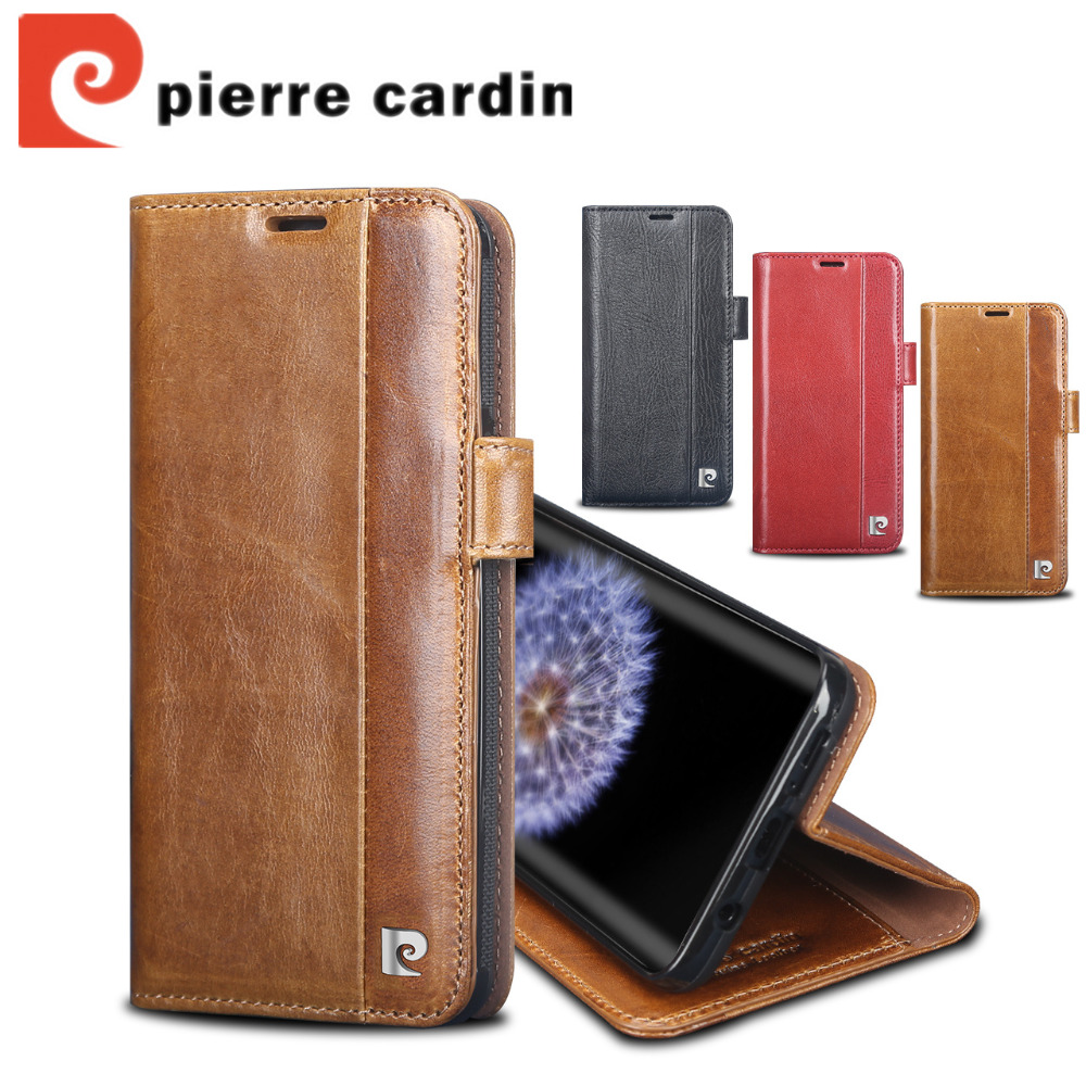 For Samsung Galaxy S9 Plus S9 Case Pierre Cardin Genuine Leather Stand Flip Card Cover Case