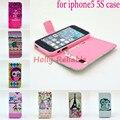 Envío gratis 2014 imágenes de impresión pu cuero del teléfono protector de shell case cubierta del tirón de la carpeta funda para el iphone5 5S case