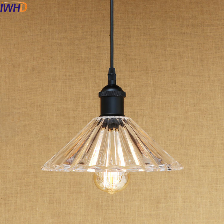 IWHD American Glass LED Pendant Lights Fixtures Indoor Home Lighting Edison Industrial Vintage Lamp Lamparas Colgantes iwhd loft style creative retro wheels droplight edison industrial vintage pendant light fixtures iron led hanging lamp lighting