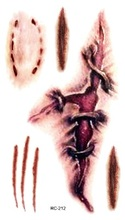 Tattoos Stickers On The Body Terror Tatu Bleeding Knife Scars Zombie Teeth Waterproof Temporary Tattoos