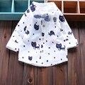 Новорожденного мальчика рубашки 2016 новая весна одежда для мальчика с отложным воротником кардиган с длинными рукавами хлопок кот новорожденный мальчик топы