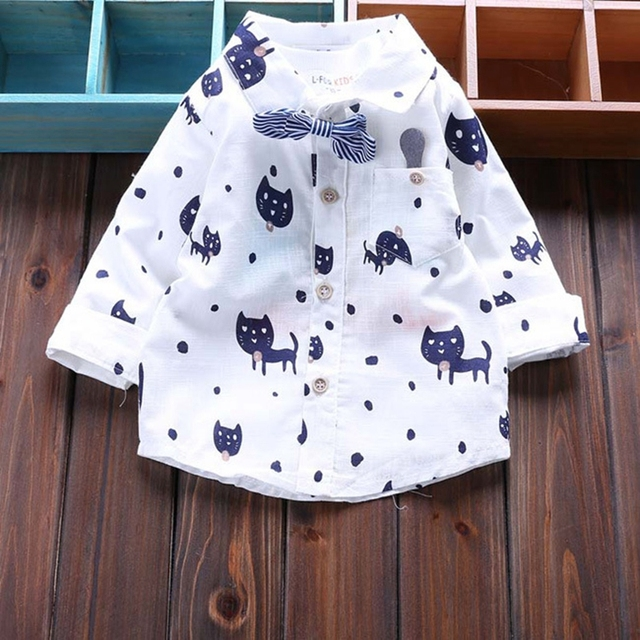infant boy shirts 2016 new Spring clothing for boy turn-down collar cardigan long sleeve cotton cartoon cat newborn boy tops