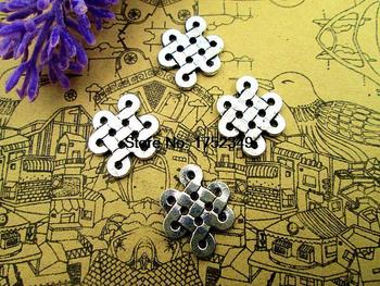 Conector de nudo de 20 Uds., 18x14mm, tibetana de 2 lados colgante de plata, pendientes de pulsera, cremallera, tira de marcadores, llaveros