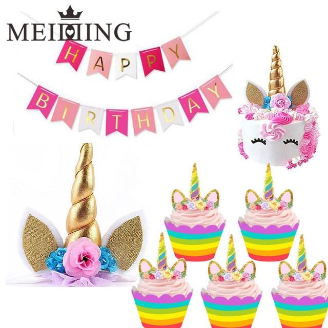MEIDDING Handmade Unicorn Horn Cake Topper with unicorn cupcake