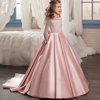 New Sleeve First Communion Dresses O neck with Bow Sash Flower Girl Dresses Ball Gowns Custom Made Vestidos for 10 12 14 years
