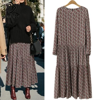 Plus Size 4XL O-Neck Women Print Flowers Shirt Dress Fall Fashion Vintage Long Sleeves Good Quality Female Dress D7N705A 2