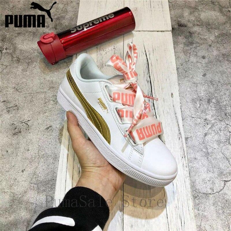 2d169c9108f 2018 PUMA Basket Heart DE Wn Sneaker Women s Badminton Shoes Outdoor White   Gold Sport Shoes