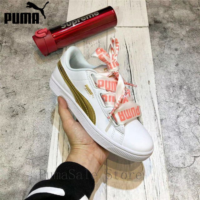 size 40 8a820 3652f US $55.15 17% OFF|2018 PUMA Basket Heart DE Wn Sneaker Women's Badminton  Shoes Outdoor White/ Gold Sport Shoes With Bow Size EUR35.5 40-in Badminton  ...