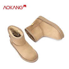 AOKANG  Winter Snow Boots Women Short Plush Warm Solid Color Ankle for Fashion Sweet Mid Calf Woman