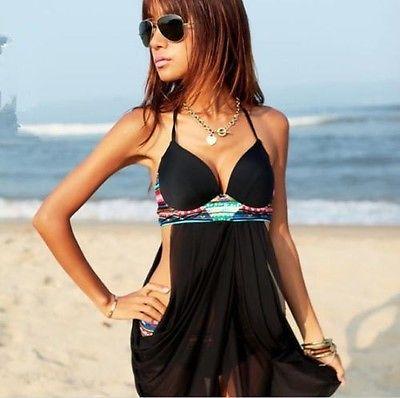 GLANE Brief 2017 New Sexys Women Sexy Swimwear Push Up Padded Bra Bikini Set Black Swimsuit Beach Dress One Piece Beachwear USA