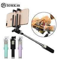 TOMKAS nouveau bâton de Selfie pour Xiaomi Huawei Samsung téléphone Portable pliable Portable monopode universel Mini Selfie bâton avec bouton