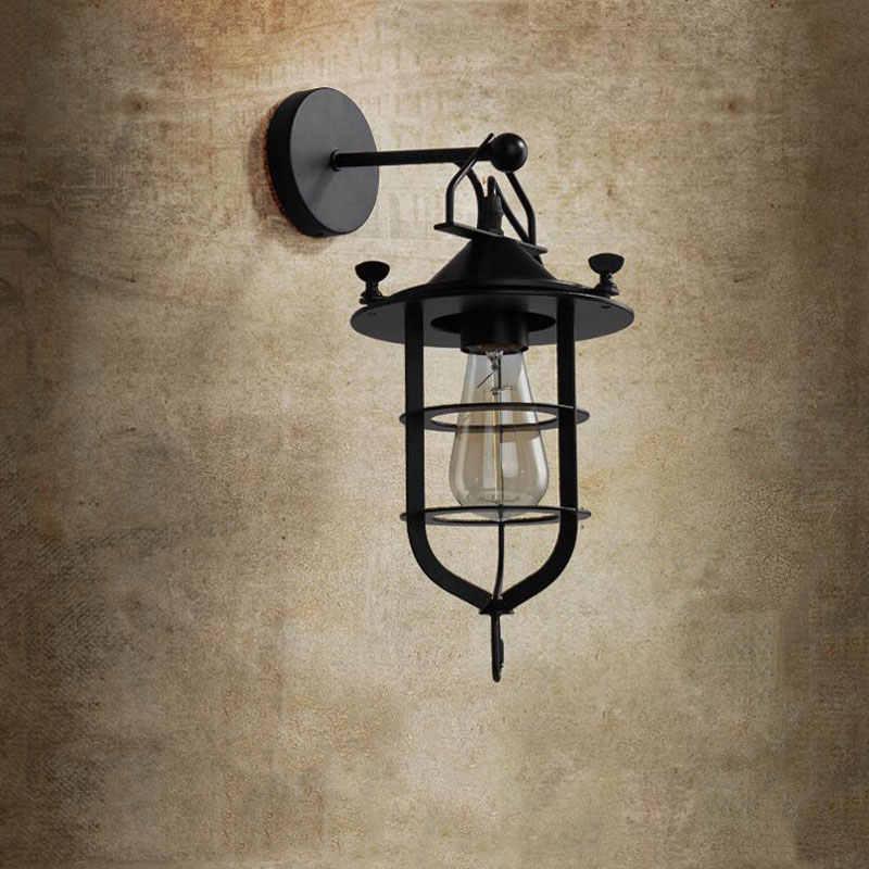 В американском ретро стиле лофт железная настенная лампа для балкона прохода коридор, лестница для паба кафе ресторан лампа передняя дверь Настенный Светильник Бра