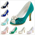 Woman Teal Wedding Bridal Shoes Peep Toe High Heel Rhinestones Clips Satin Bridesmaids Bride Prom Dress Pumps EP2094AE Navy Blue