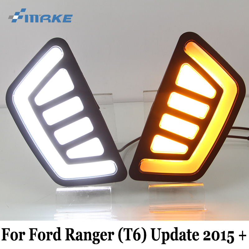 SMRKE DRL For Ford Ranger T6 Update 2015~2017 / Auto Daytime Running Lights & Yellow Turn Signal / Car Styling Car front face 2x led daytime running lights daylight turn signal drl lamp car styling light for ford ranger px mk2 2015 2016 2017 2018