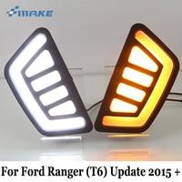 SMRKE DRL For Ford Ranger T6 Update 2015 2017 Auto Daytime Running Lights Yellow Turn Signal