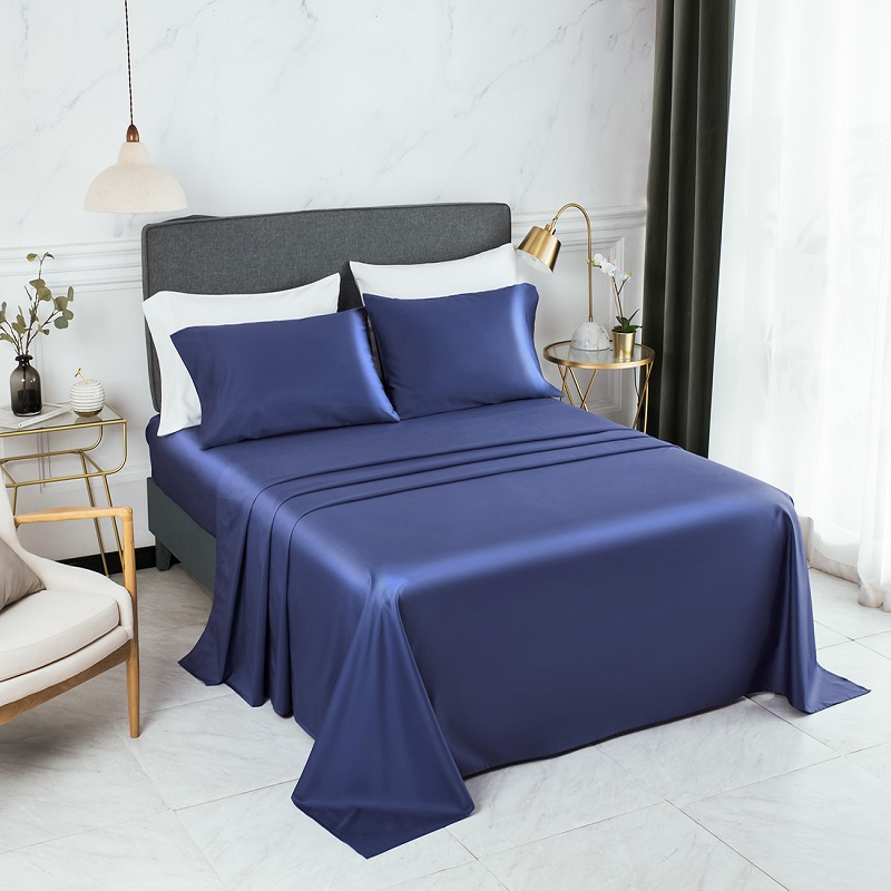 PHF 800 Thread Count Cotton Rich Bed Sheet Set Satin Weave Deep Pocket Cozy Durable Wrinkle Resistant 4 Pcs Queen Royal Blue image