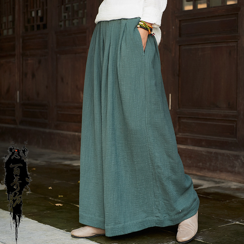 Spring Cotton Linen Women Original Soft   Wide     Leg     Pants   Vintage Loose Skirt   Pants   Chinese Style Elastic Waist Ethnic Trousers Hot