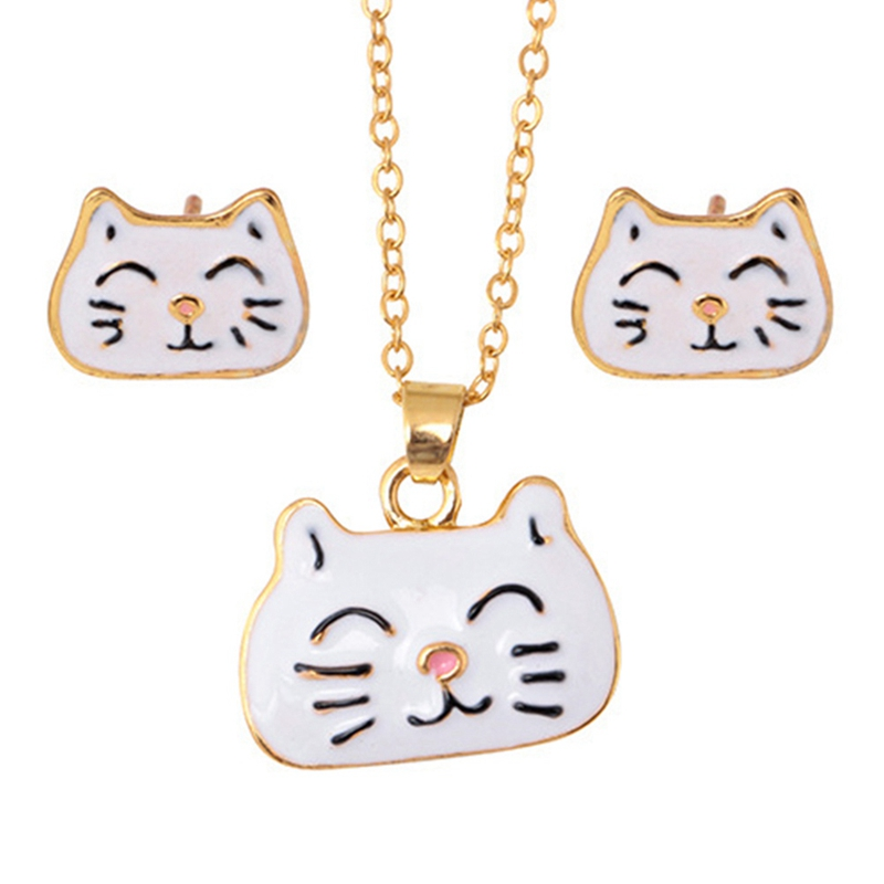Fashion Animal Cat Jewelry Sets Cute Kitten Pendant Necklace and Drop Earrings For Women Statement Jewelry Set Birthday Gift