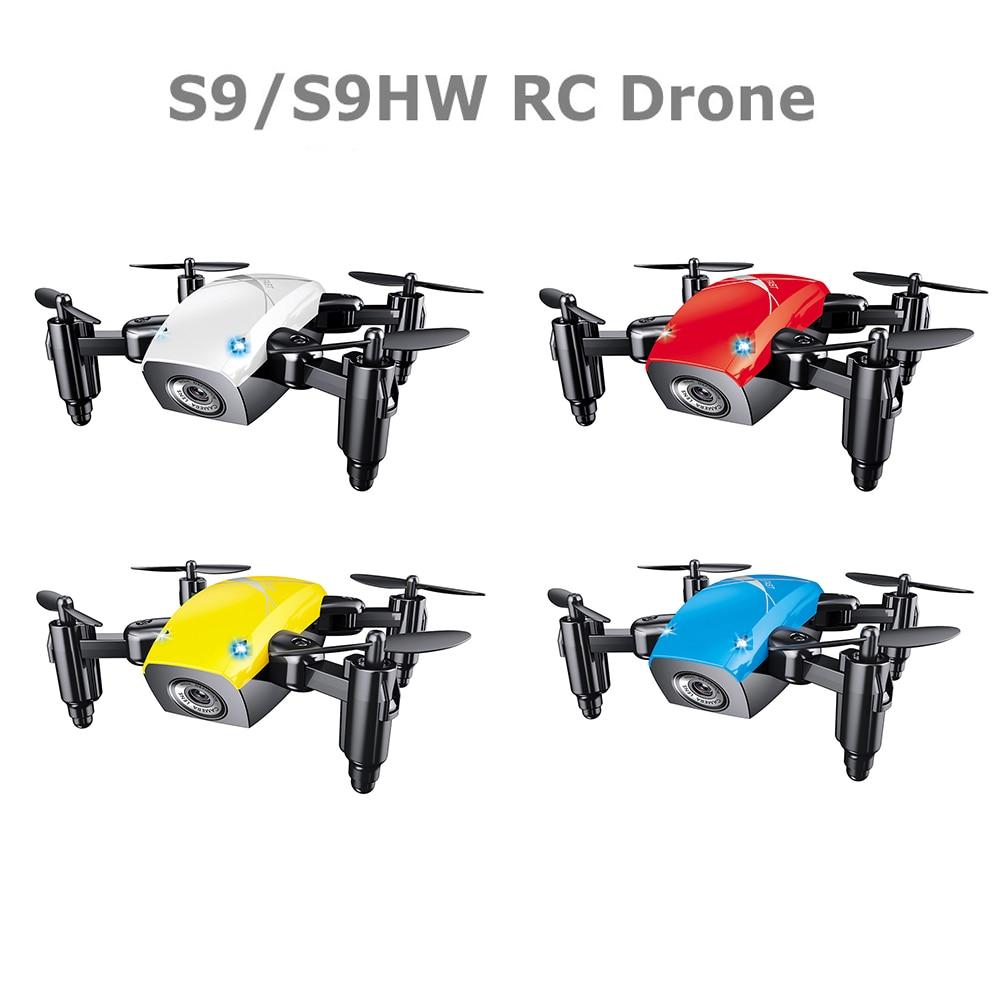 S9HW Mini Drone con cámara S9 No Cámara RC helicóptero plegable Drones altitud Hold Quadcopter WiFi FPV bolsillo Dron Toy