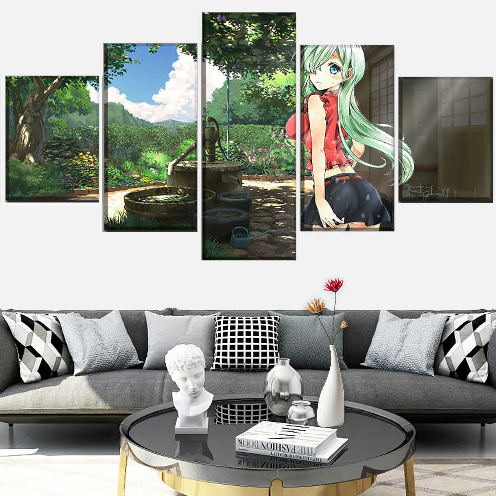 5 panel set of artwork Nanatsu No Taizai anime seven sin poster canvas print painting wall living room decorative art frame