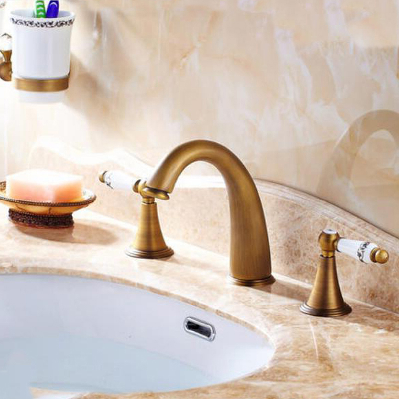 Widespread Antique Brass Bathroom Basin Faucet Ceramic Handles Mixer Tap NEW antique brass widespread bathroom faucet 3pcs 8 sink mixer tap dual handles