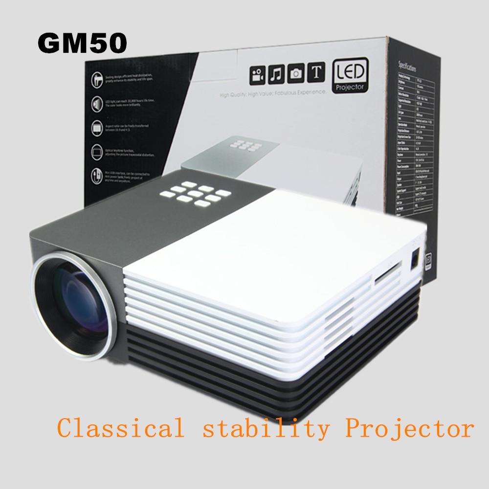 GM50 Mini Portable LED Projector Video Portable Projector With Remote Controller Support AV/USB/SD/VGA HDMI Cinema Projector