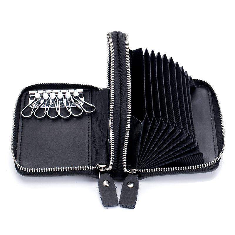 Double Zipper Organ Credit Card Holder Men Women RFID ID Cards Wallet Large Capacity Split Cow Leather Card Cases Pouch