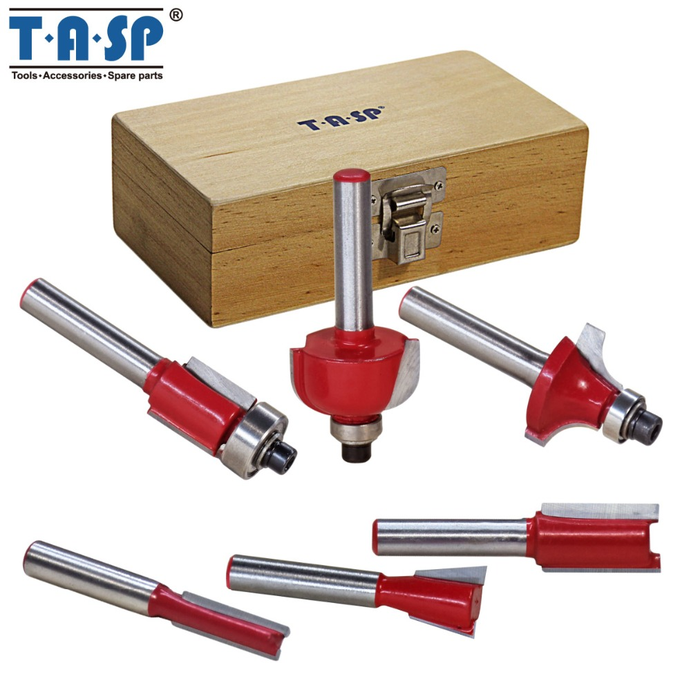 TASP 6pcs 6.35mm 1/4 Shank Tungsten Carbide Tipped Router Bit Set in Wood Case Milling Cutter Bit Woodworking Tools 16pcs 14 25mm carbide milling cutter router bit buddha ball woodworking tools wooden beads ball blade drills bit molding tool
