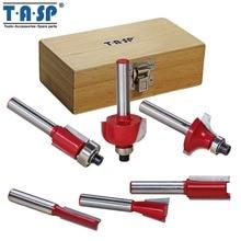 TASP 6 шт. 6,35 мм 1/4 «хвостовик карбидо-вольфрамовый наконечник маршрутизатор Набор бит в деревянном корпусе Фрезерный резак для обработки дерева