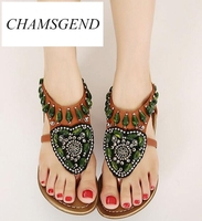 2017 New National Style Women Sandals Bohemia Flats Beaded Size Foreign Trade Shoes Summer Shoes Women