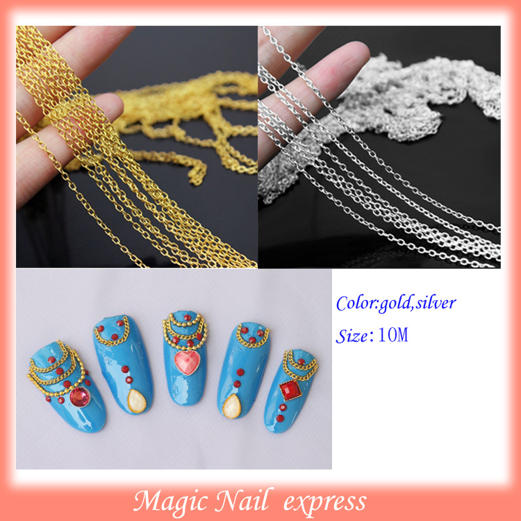 10M Punk Gold chain Acrylic nails Tiny Line Design DIY Decoration Nail Art String Beads Nail Art Tiny Beads Chain Metal artlalic nail art tiny steel caviar beads mix size 3d design manicure jewelry rose gold silver diy decoration wheel wholesale