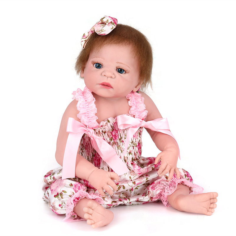все цены на New 55cm Full Body Silicone Reborn Baby Girl Dolls Reborn Bebe Reborn Can Bath Reborn Babies Dolls for Children Juguetes Bonecas