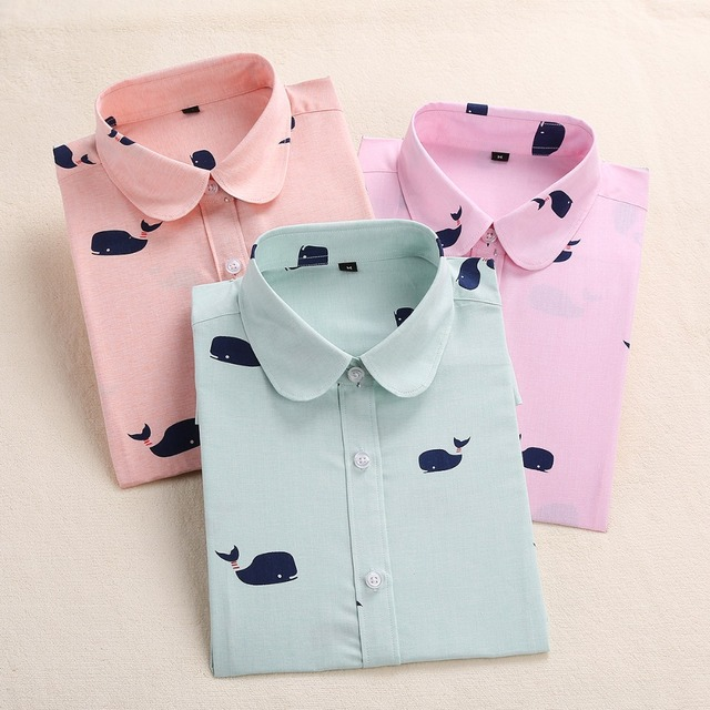 Dioufond Новый Для женщин печати блузка Мода Мультфильм Топы цветочный Футболка с принтом рубашка с длинными рукавами женский плюс Размеры Camisas Femininas